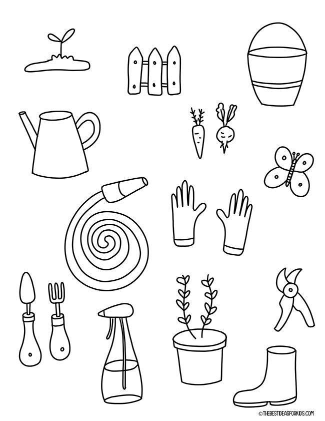 Spring Garden Tools Coloring Page