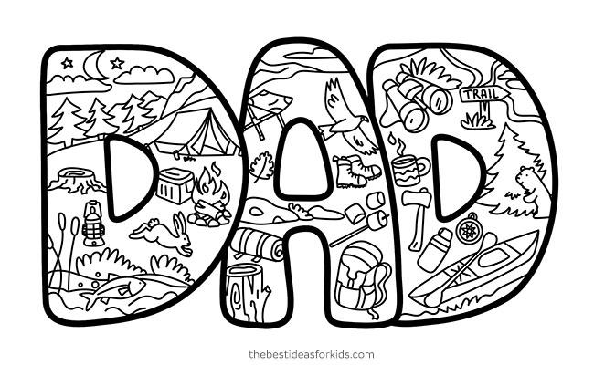 Dad Camping Doodle Card