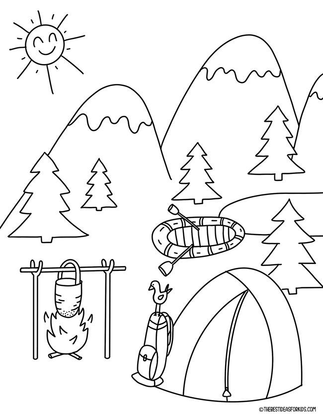 Página para colorir acampamento de verão