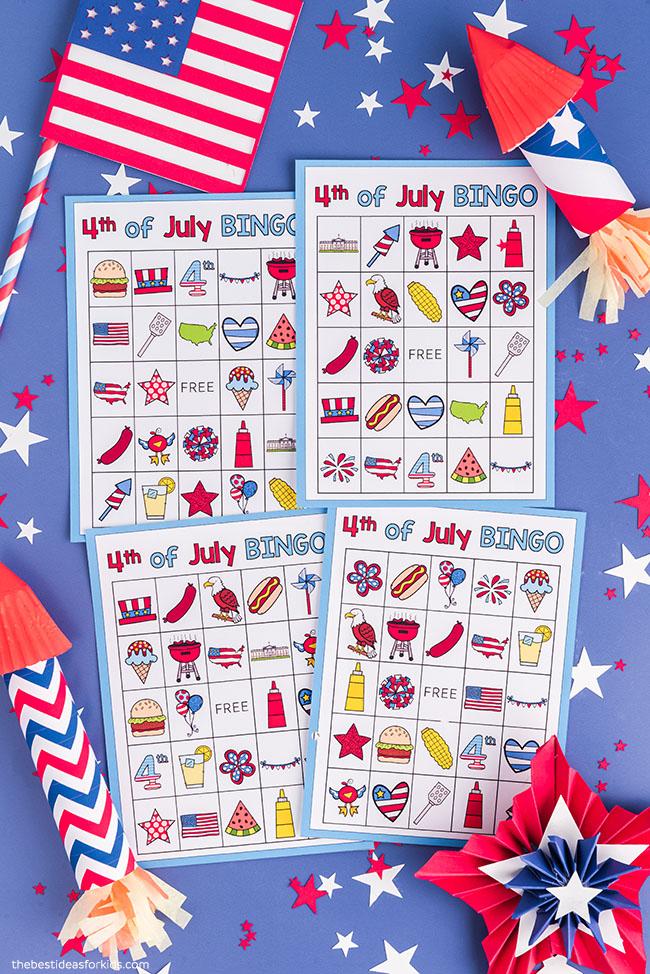Cartões de bingo de 4 de julho para impressão