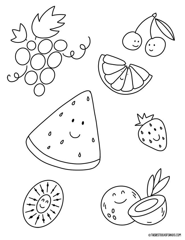 Página para colorir de frutas de verão