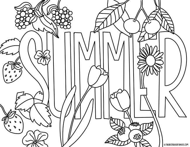 Página para colorir cartas de verão