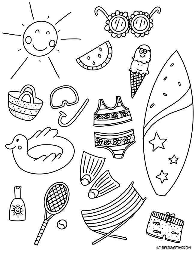 Página para colorir piscina de verão
