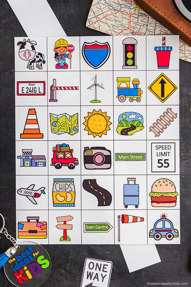 Calling Cards for Road Trip Bingo