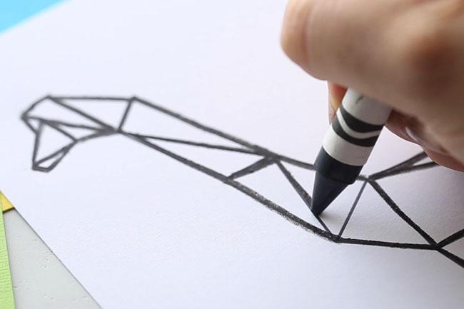 Black Crayon Outline on Dinosaur Template
