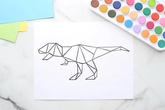 Dinosaur Template with Black Crayon
