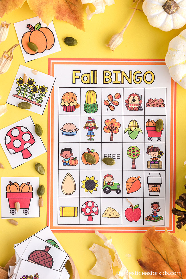 Fall Bingo Cards for Kids