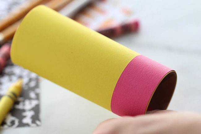 Glue pink to Paper roll