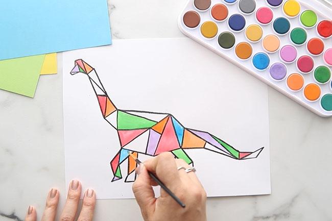 Paint Dinosaur with Watercolor Paints