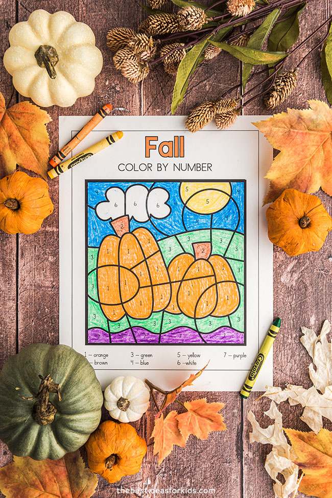Color by Number Fall Printables