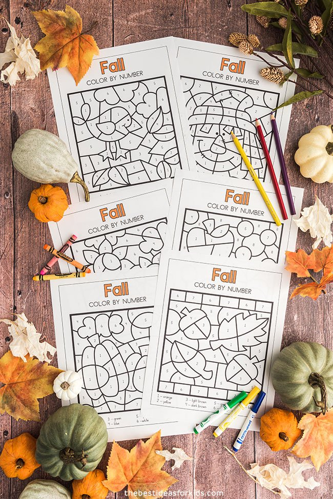 Fall Color by Number Printables