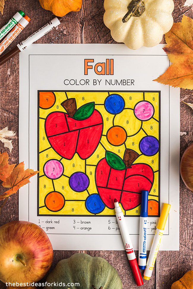 Free Printable Apple Color by Number