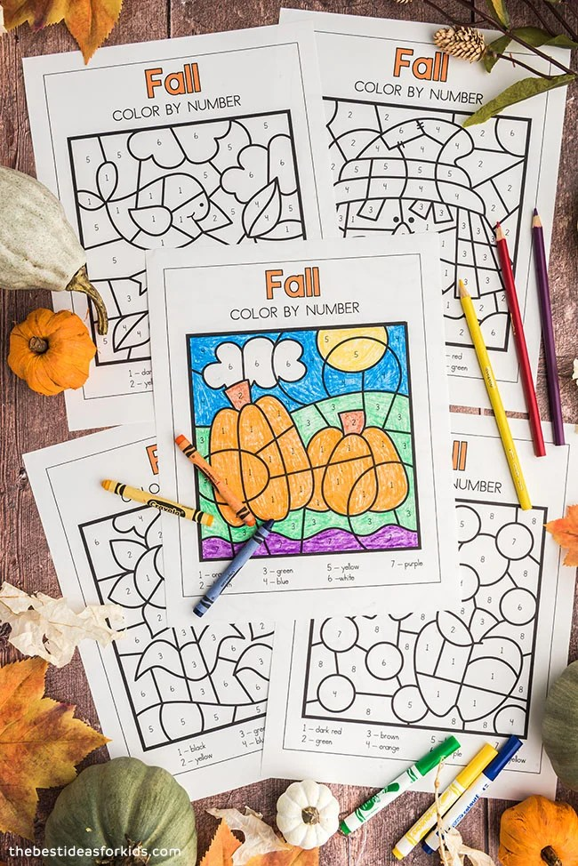 Free Printable Fall Color by Number