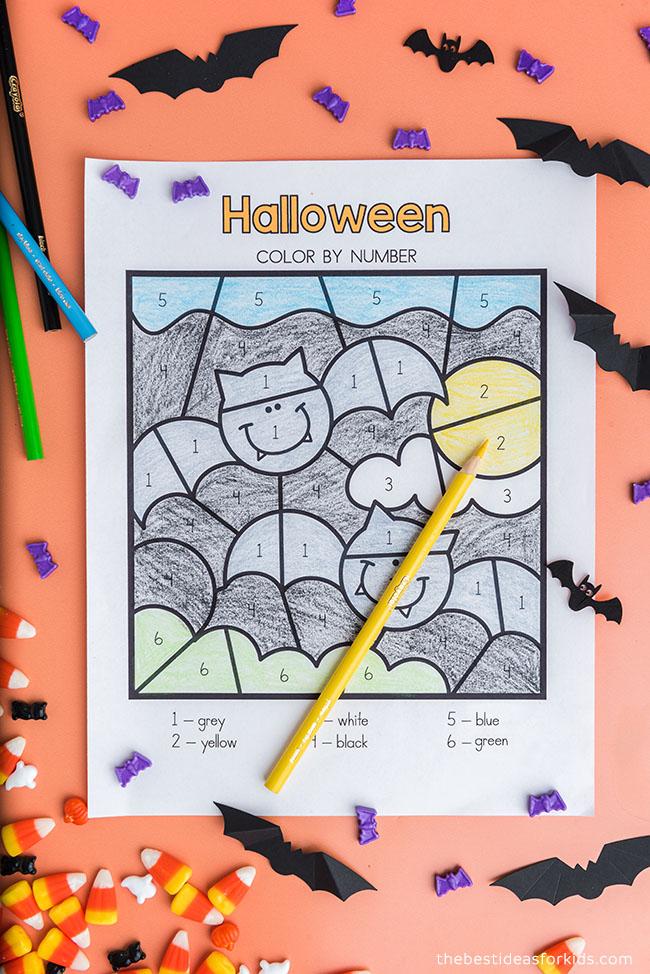 Bat Color by Number Sheet