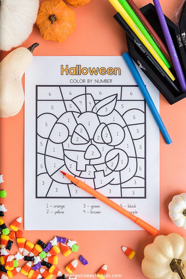 Pumpkin Color by Number Sheet