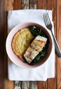 Seared Barramundi with Creamy Polenta and Garlicky Kale