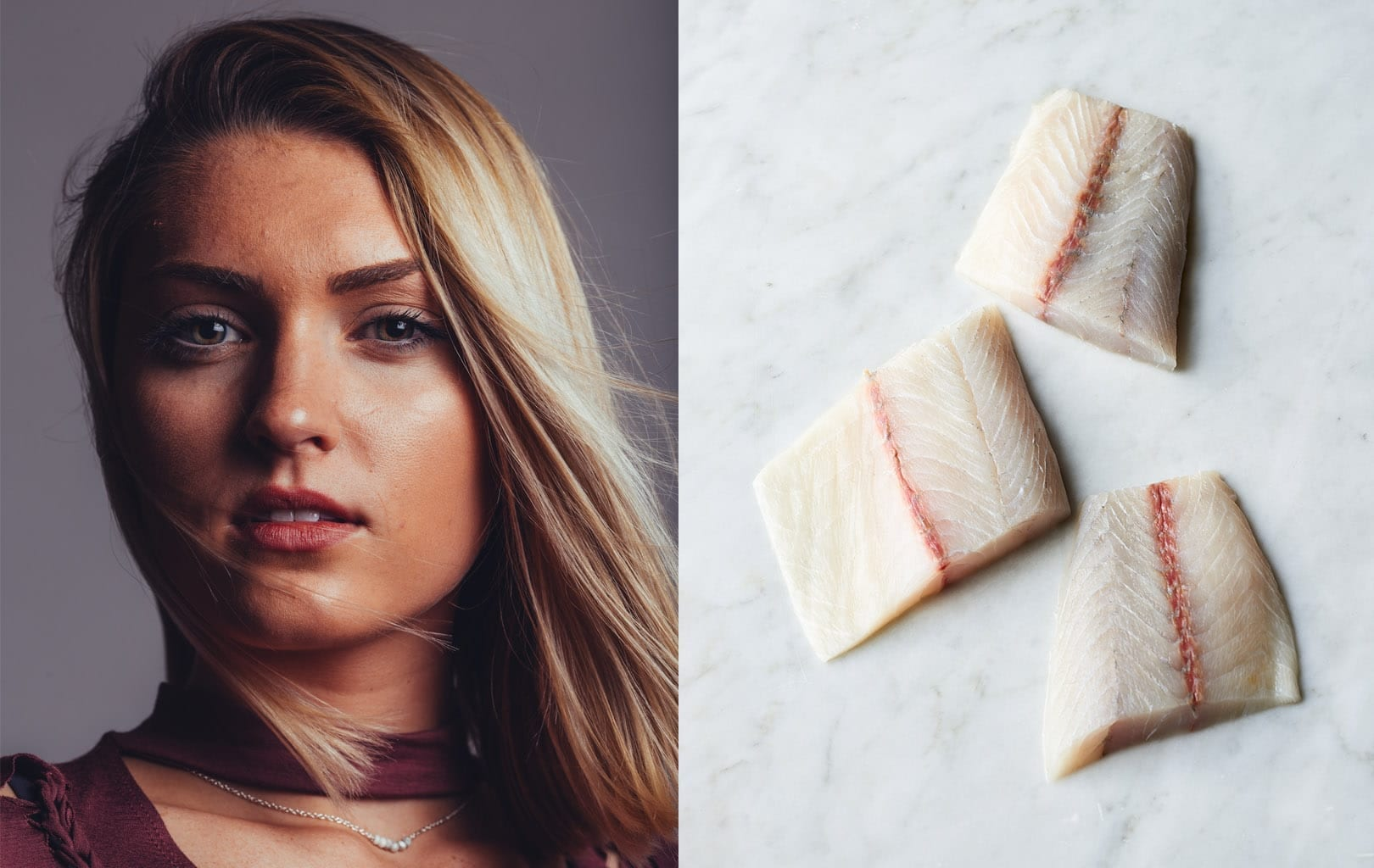 Face of woman juxtaposed next to fish fillets