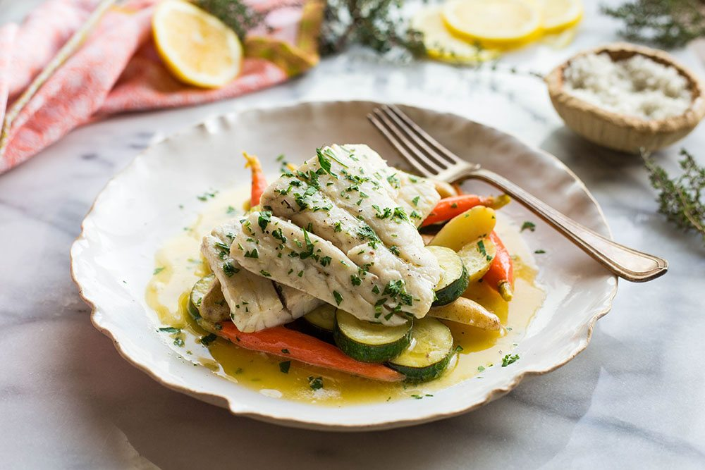 Butter Poached Barramundi with Seasonal Vegetables