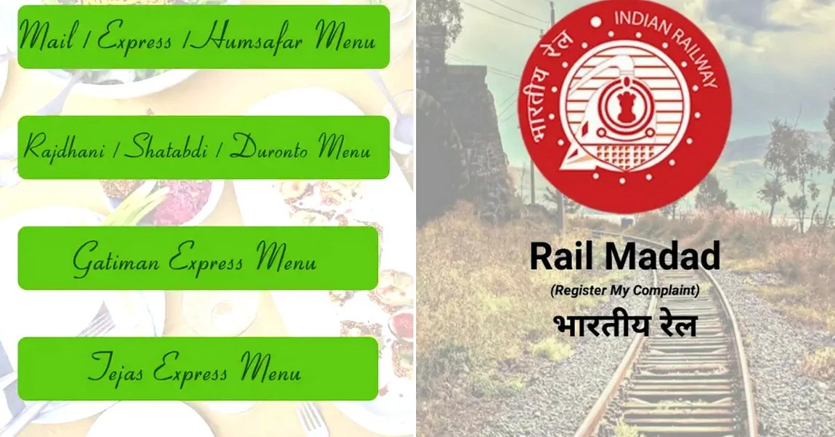 IRCTC launched apps to make passenger experience smoother.Image Credit: Rail Menu app and Rail Madad app.