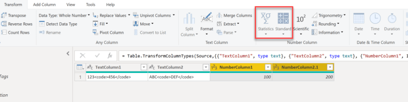 Some symbols are greyed out, Advanced transformations on multiple columns at once in Power BI and Power Query, Power BI, Power Query, Power BI Desktop