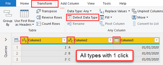change all column types at once