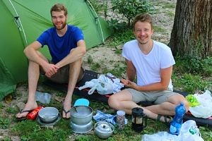 My neighbours in the Venice campsite, who cycled from Fuessen, Germany, via the famous Via Claudia Augusta mountain road