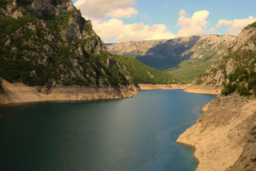 Deep turquoise lakes en route to Montenegro.