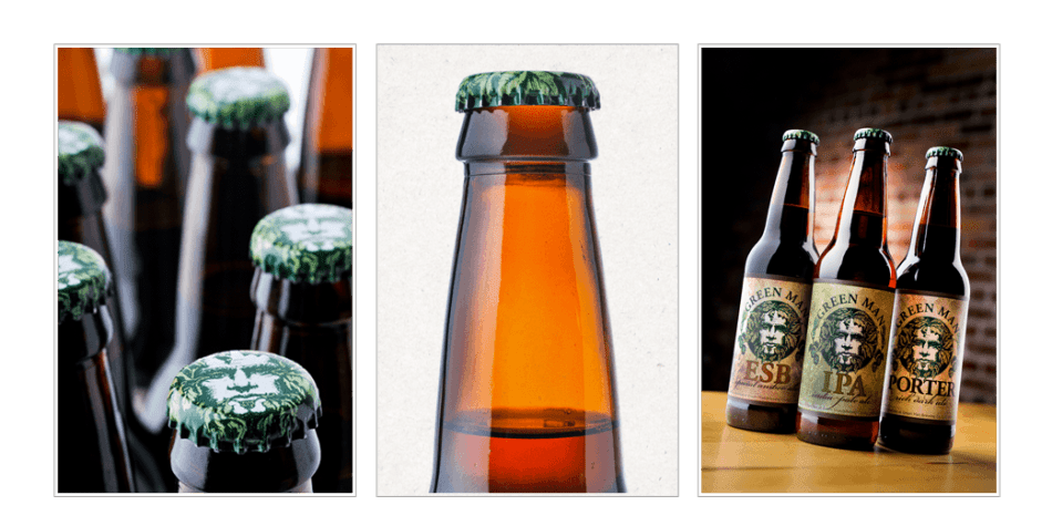 Green Man Brewery Bottle Labels and Bottle Cap Designs