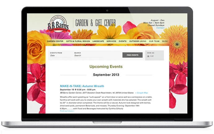 BB Barns Website Design Events Page