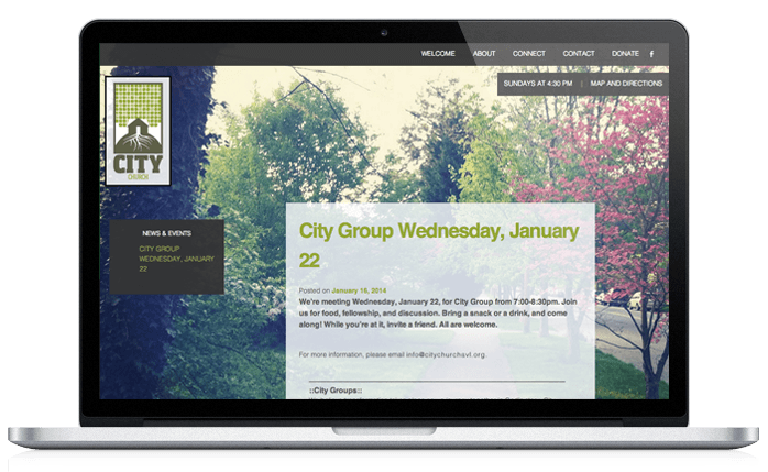 City Church Web Design Events Page