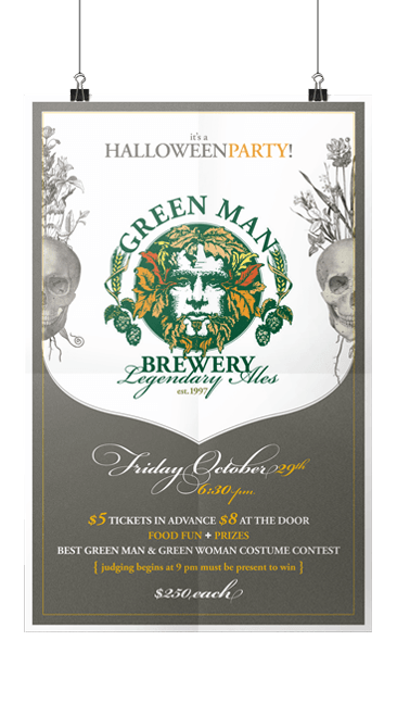 Green Man Halloween Party Poster Print