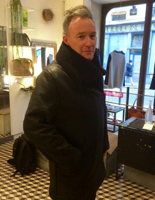 Alexis wearing his new Carmen Ragosta vegan coat