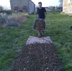 Grant planting potatoes