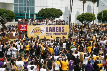 Celebrating LA Lakers championship