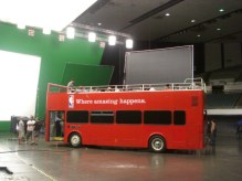 The Big Red Bus at NBA commercial filming