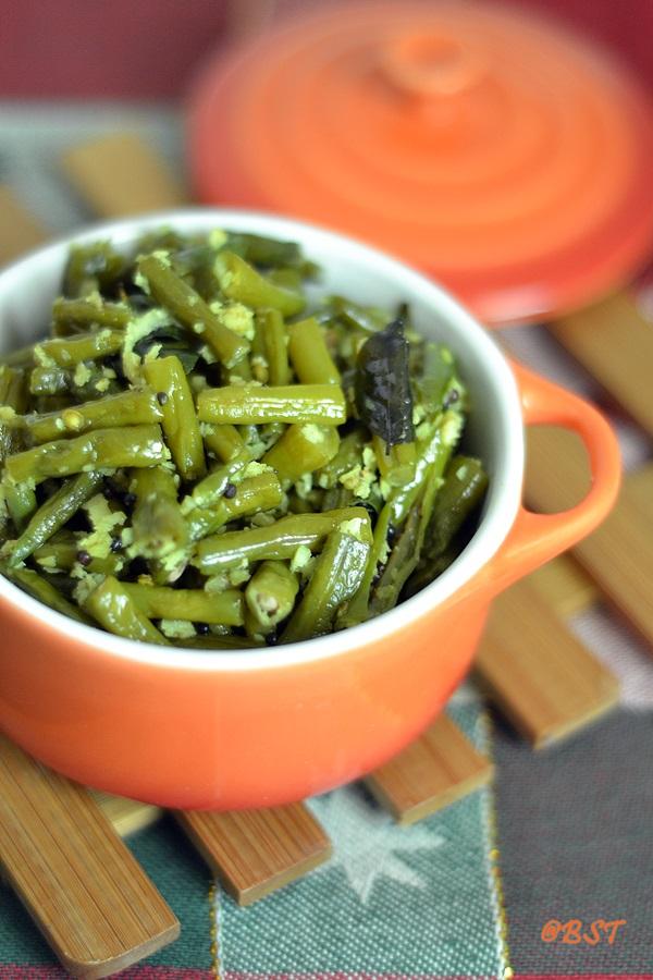 Achinga Payar Thoran ~ String Beans Stir Fry