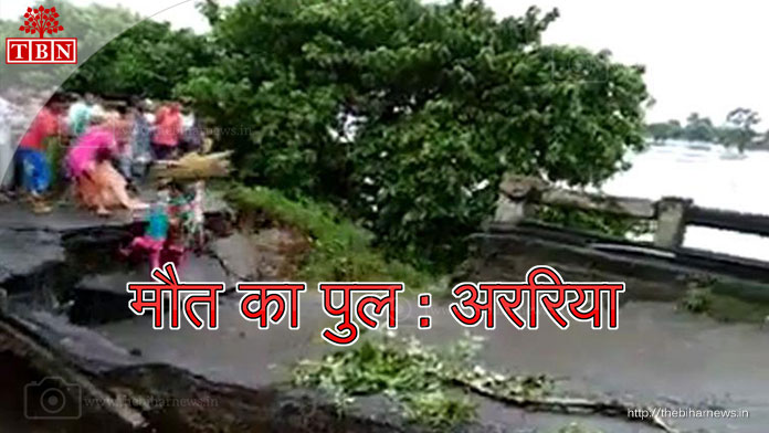 thebiharnews_in_arariya_flood_Family-strayed-in-crossing-bridge-broken-into-flood-In-Bihar