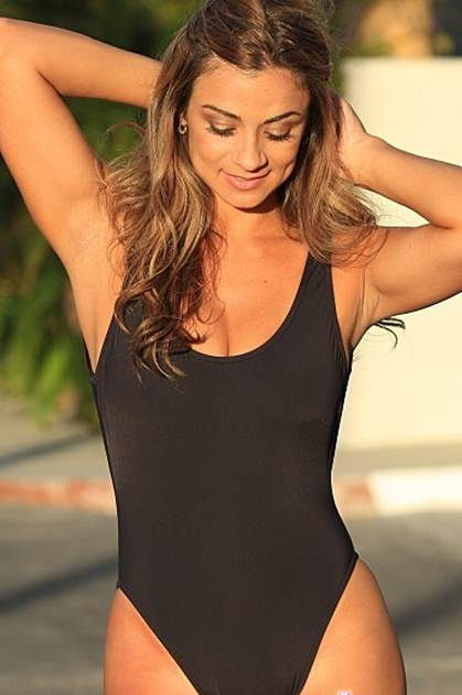 Black One Piece Swimsuit with Scoop Front and Back