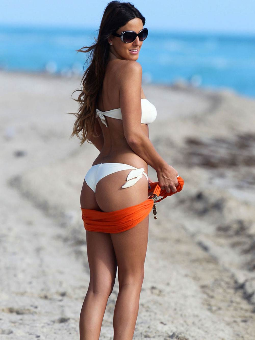 CLAUDIA ROMANI -Sexy White Thong Bikini-Beautifule Beach Pics