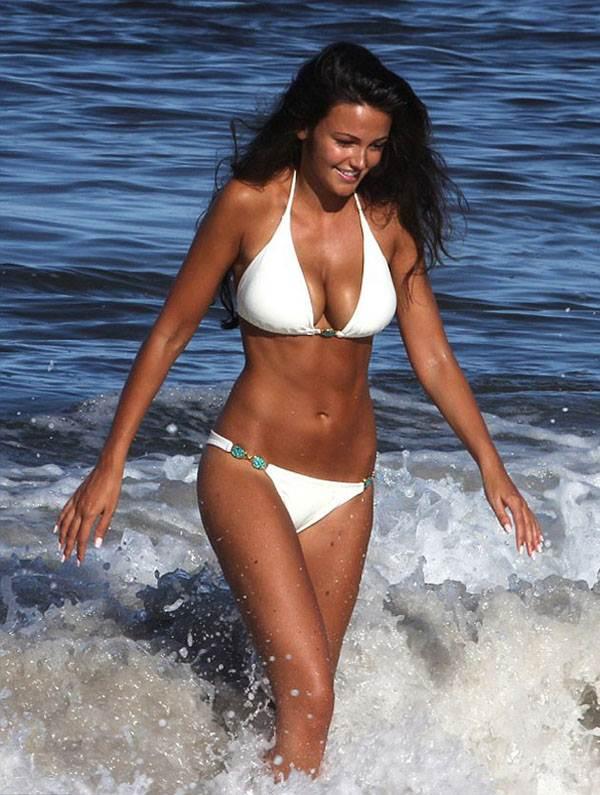 Michelle Keegan sexy white bikini