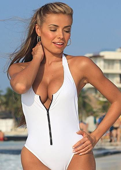 White One Piece Swimsuit-with zipper swimming