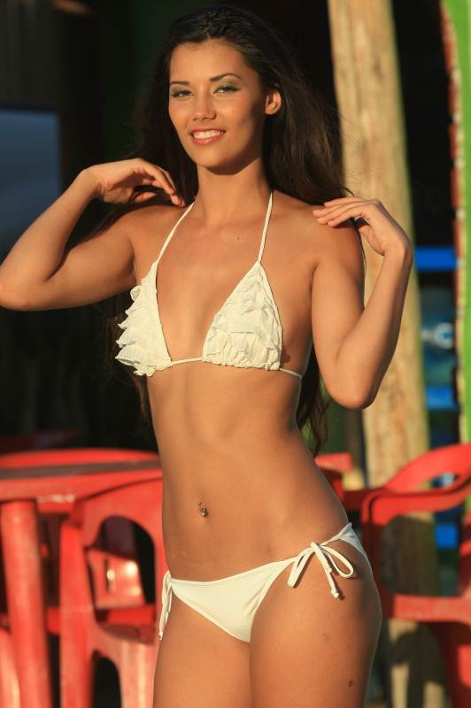 White Ruffle Bikini Bikinis For Women with Smaller Chests