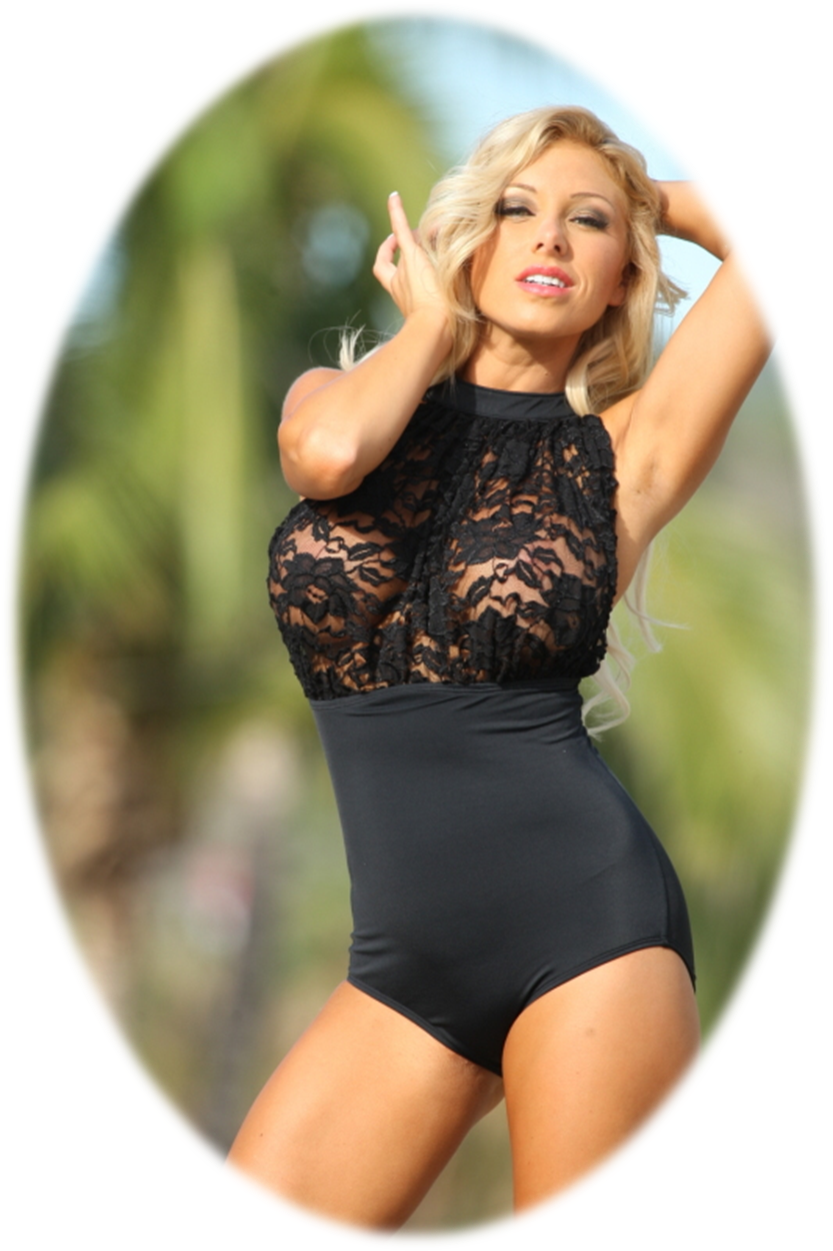 Black Lace One Piece Swimwear Swimsuits