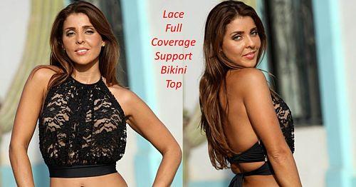 Black Lace Nude Lining Support Bikini Top