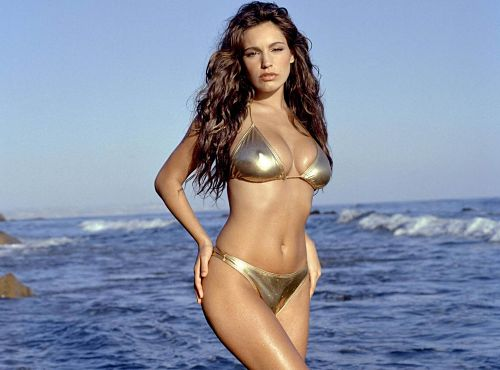 Kelly Brook Gold Metallic Bikini