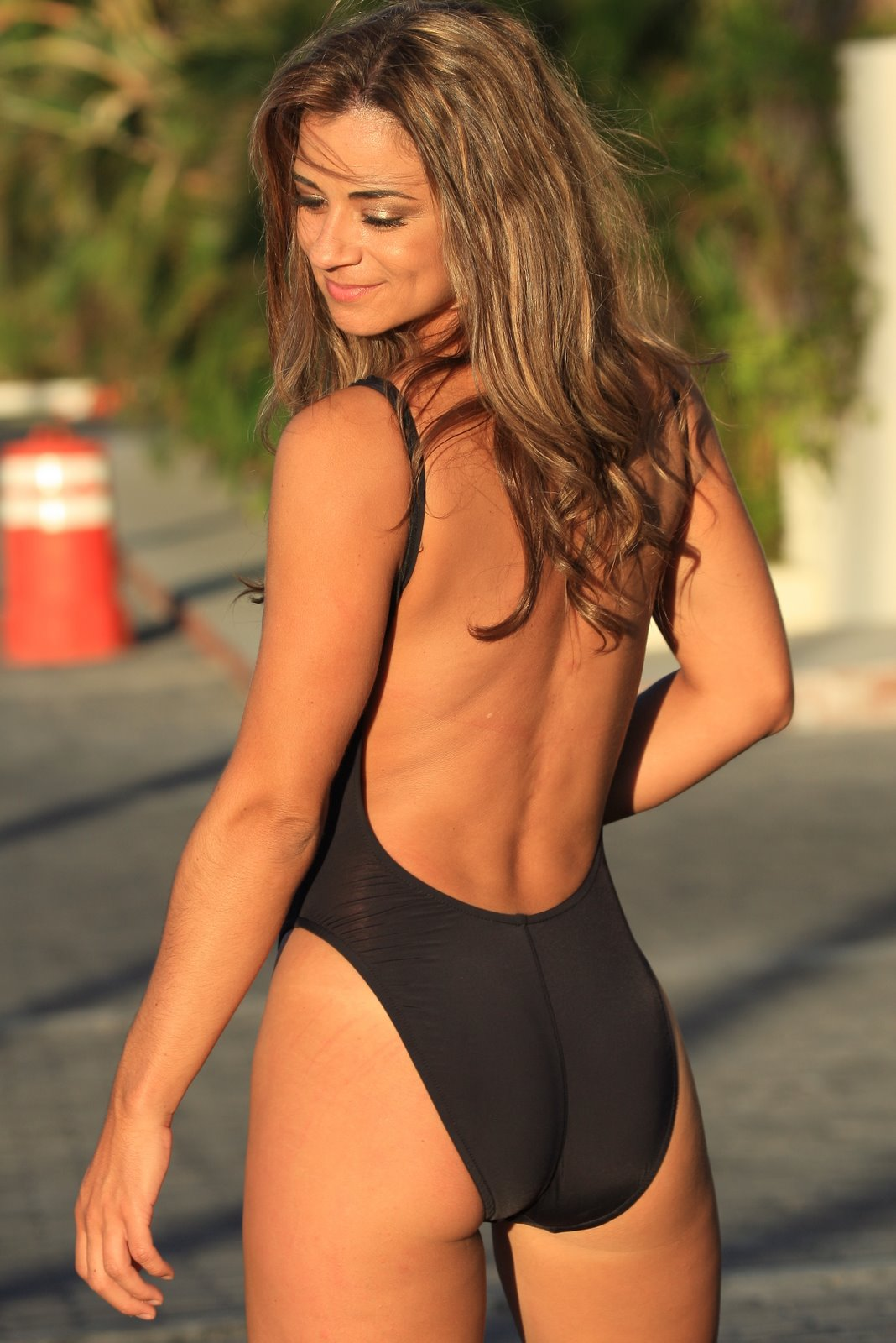 Black High Cut One Piece Swimsuit