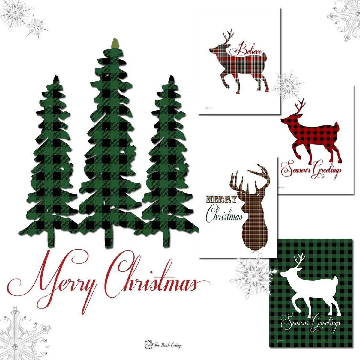 Christmas Tree And Deer Plaid Christmas Prints The Birch