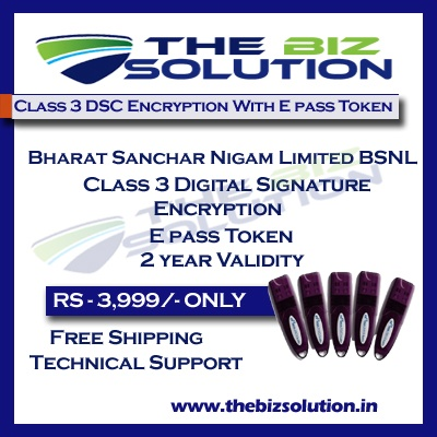 Bharat Sanchar Nigam Limited BSNL Class 3 Digital Signature for E tender