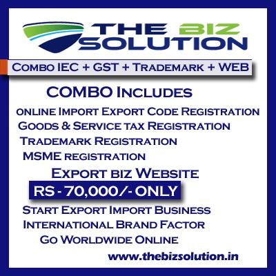 Combo Online IE Code GST MSME Trademark registration with website