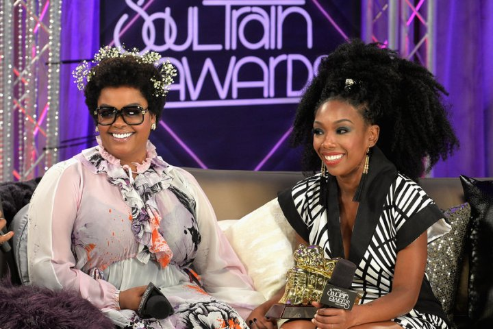 LAS VEGAS, NV - NOVEMBER 06: Singer Jill Scott (L) and Lady of Soul Award honoree Brandy are interviewed backstage during the 2016 Soul Train Music Awards at the Orleans Arena on November 6, 2016 in Las Vegas, Nevada. (Photo by Paras Griffin/BET/Getty Images for BET)